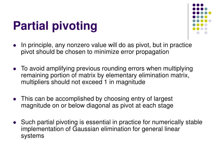 Partial pivoting