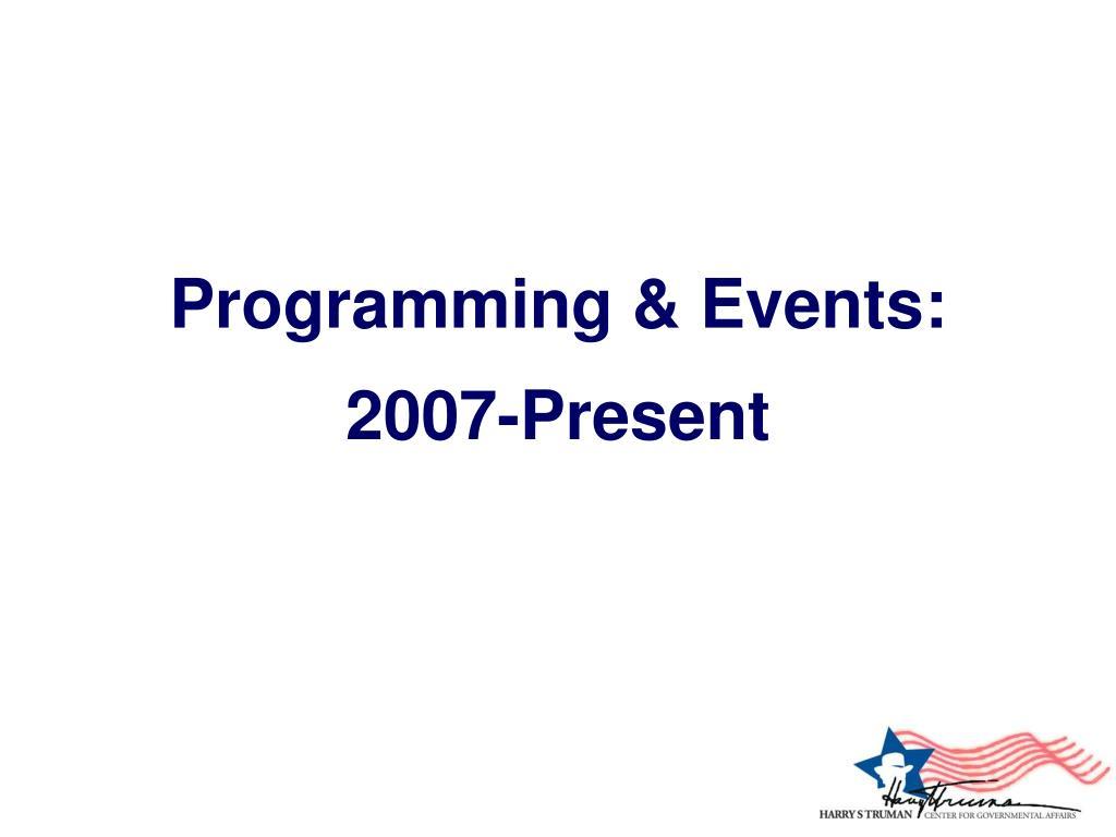 Programming & Events: