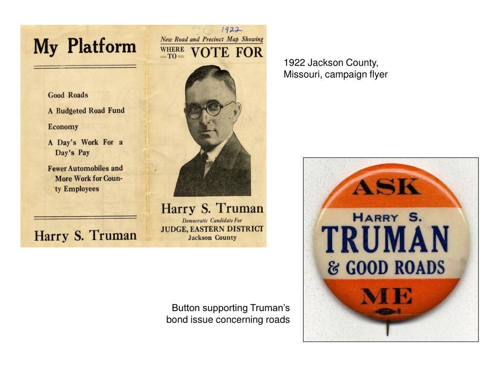 1922 Jackson County, Missouri, campaign flyer