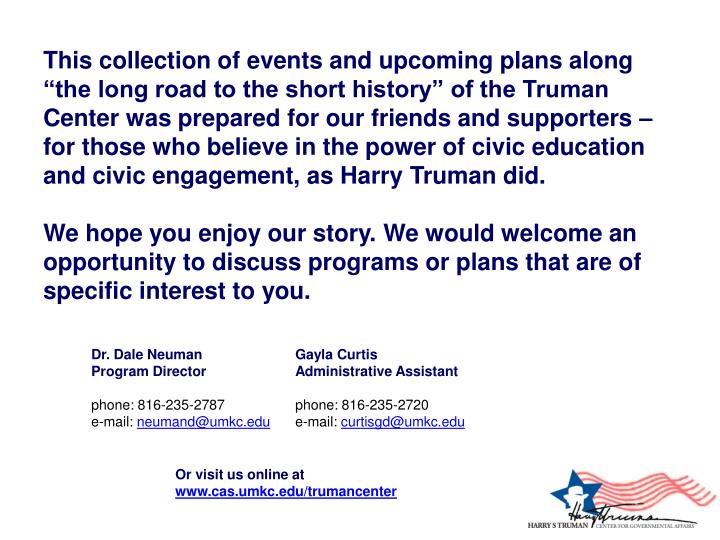 """This collection of events and upcoming plans along """"the long road to the short history"""" of the T..."""