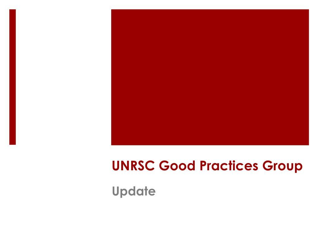 UNRSC Good Practices Group