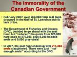 the immorality of the canadian government