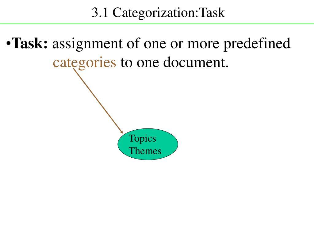 3.1 Categorization:Task
