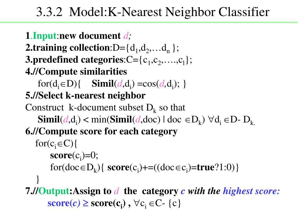 3.3.2  Model:K-Nearest Neighbor Classifier