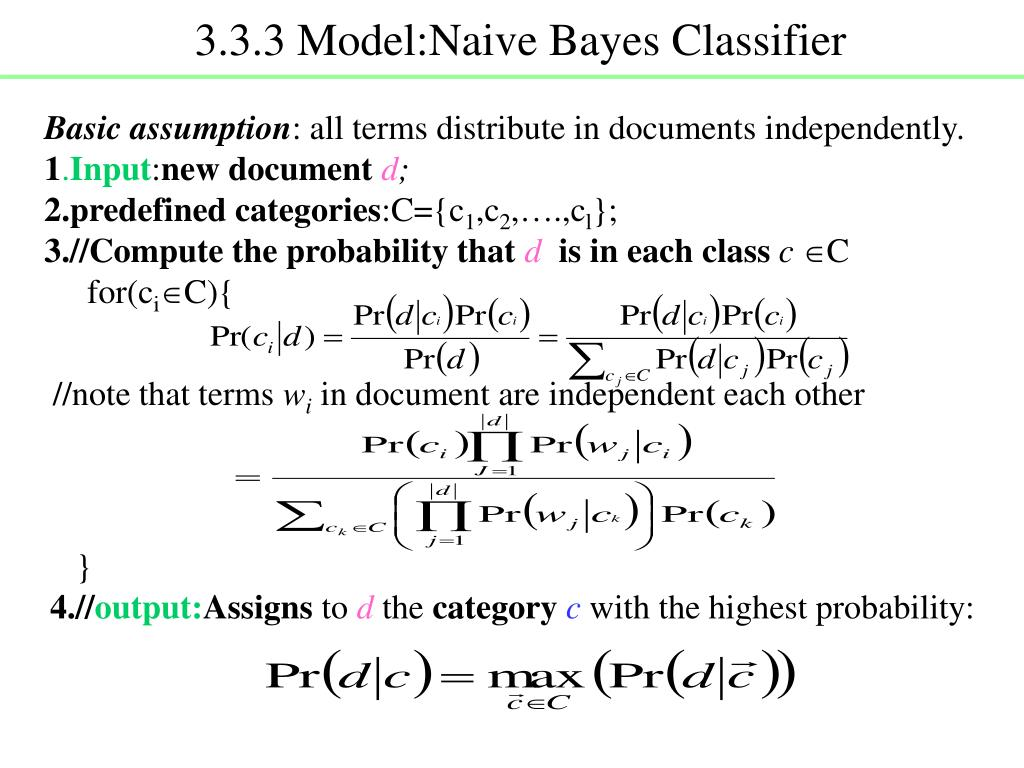 3.3.3 Model:Naive Bayes Classifier
