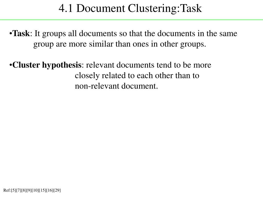 4.1 Document Clustering:Task