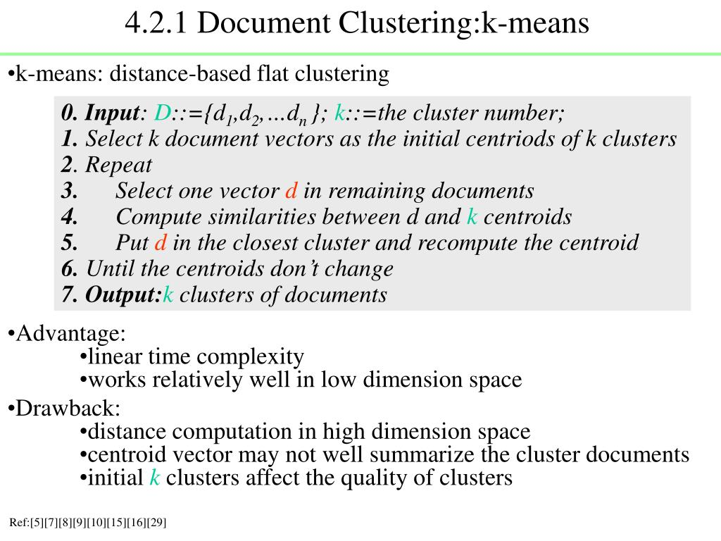 4.2.1 Document Clustering:k-means