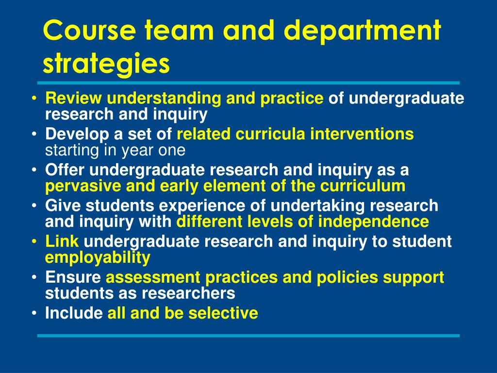 Course team and department strategies