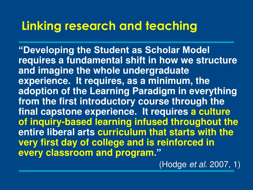 Linking research and teaching