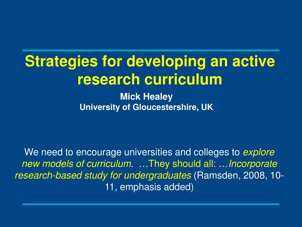 Strategies for developing an active research curriculum