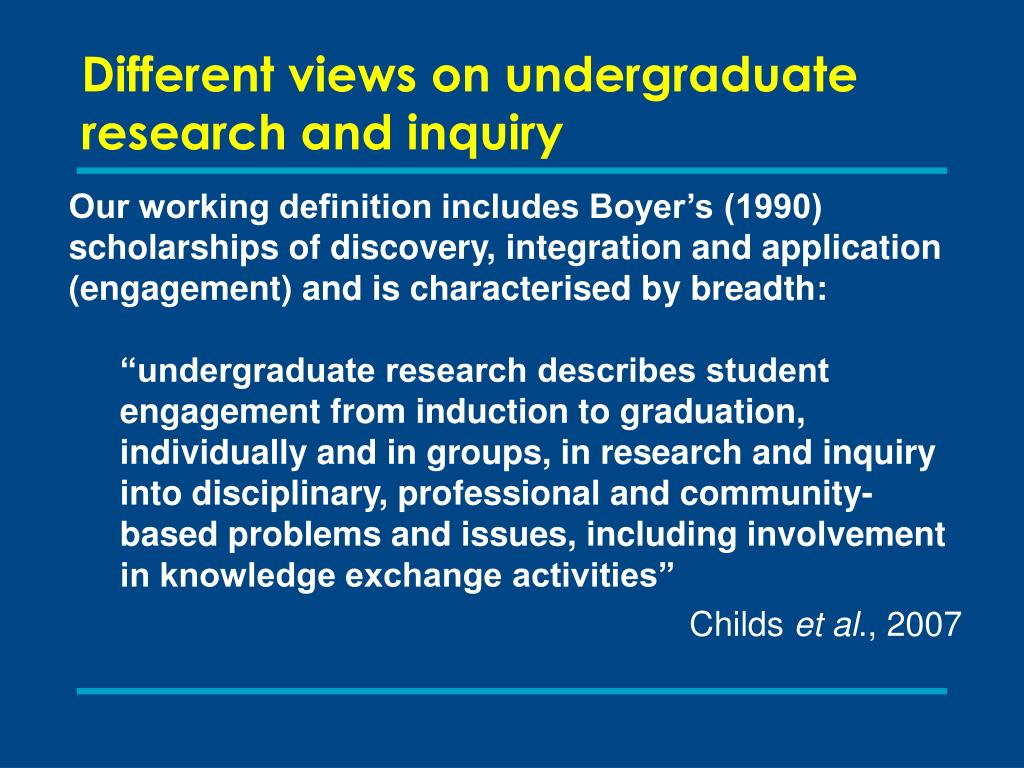 Different views on undergraduate research and inquiry