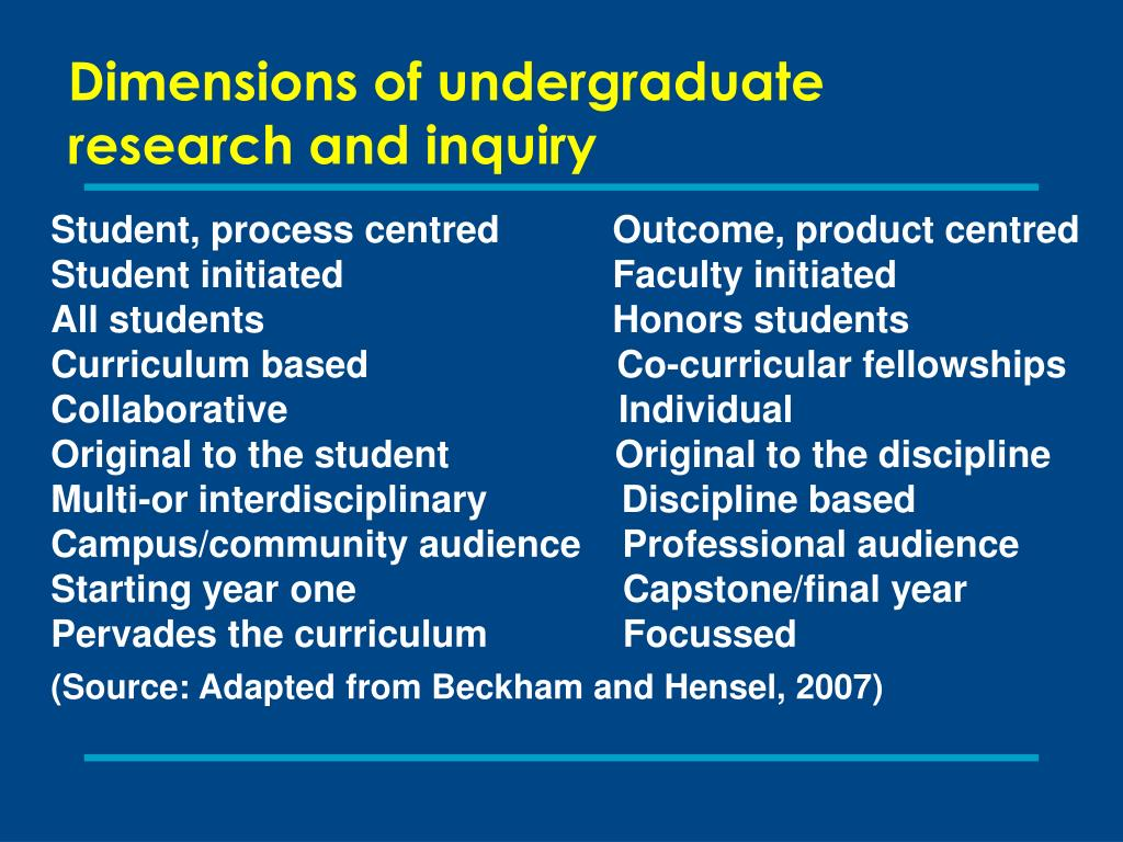 Dimensions of undergraduate research and inquiry