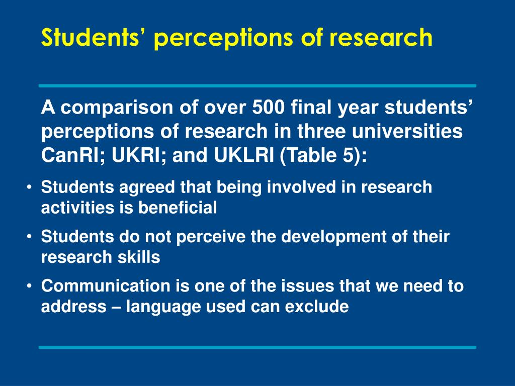 Students' perceptions of research