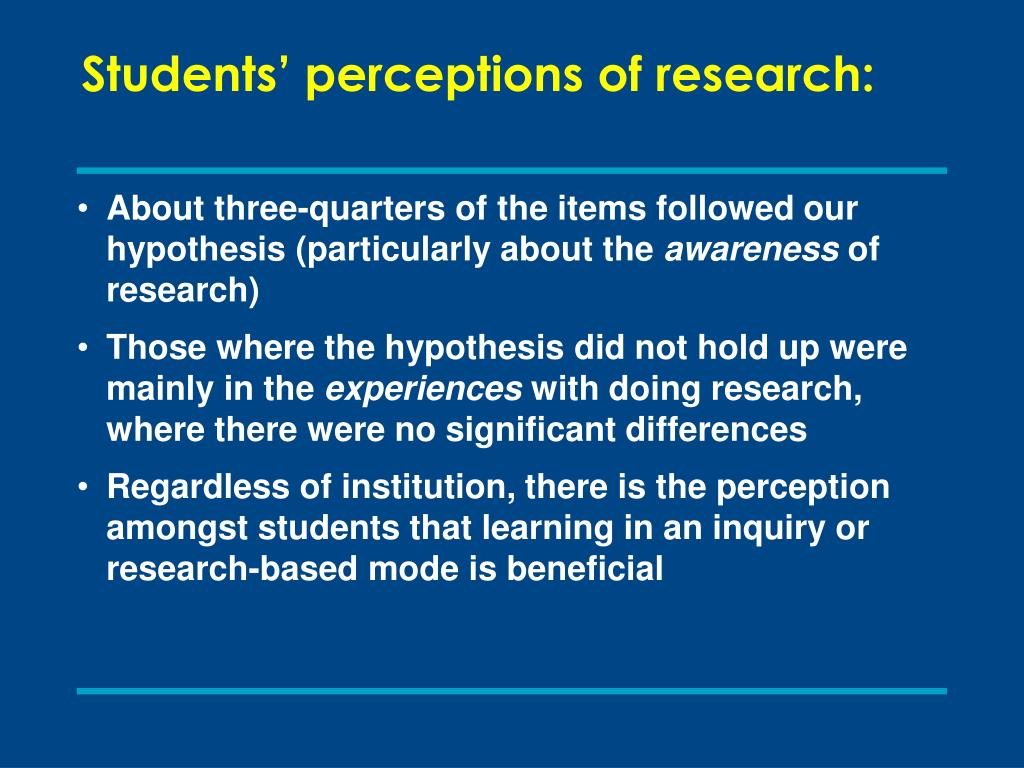 Students' perceptions of research: