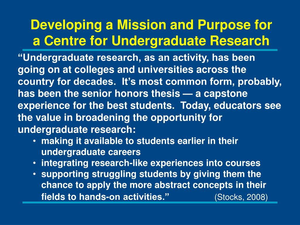 Developing a Mission and Purpose for a Centre for Undergraduate Research