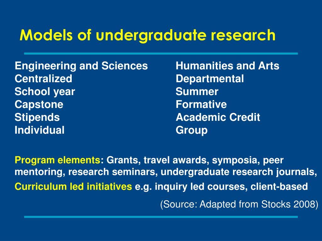 Models of undergraduate research