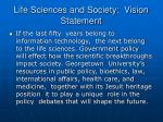 life sciences and society vision statement