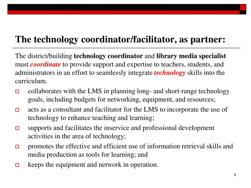 The technology coordinator/facilitator, as partner: