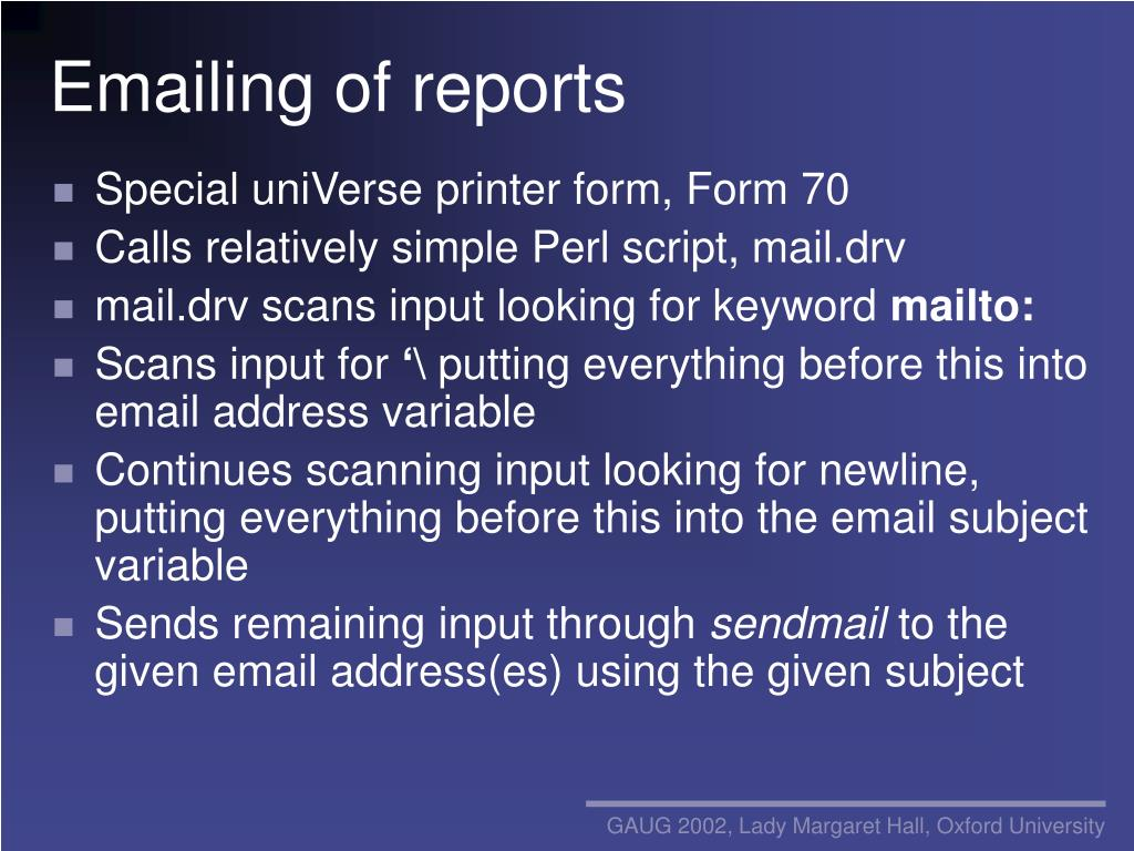 Emailing of reports
