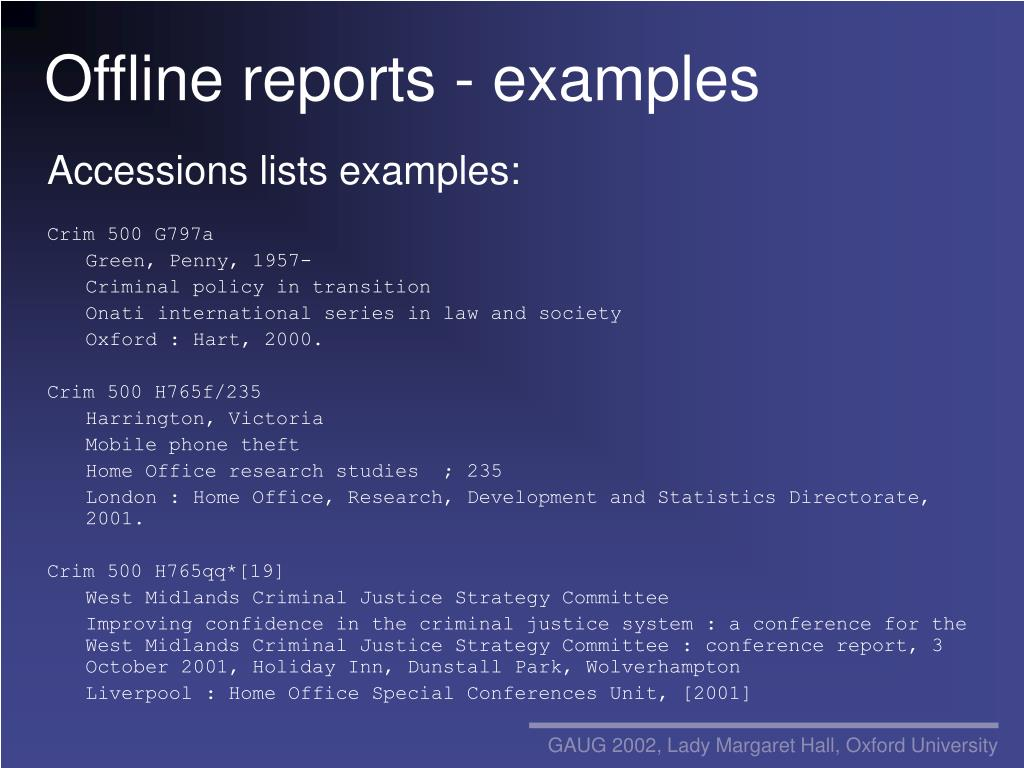 Offline reports - examples