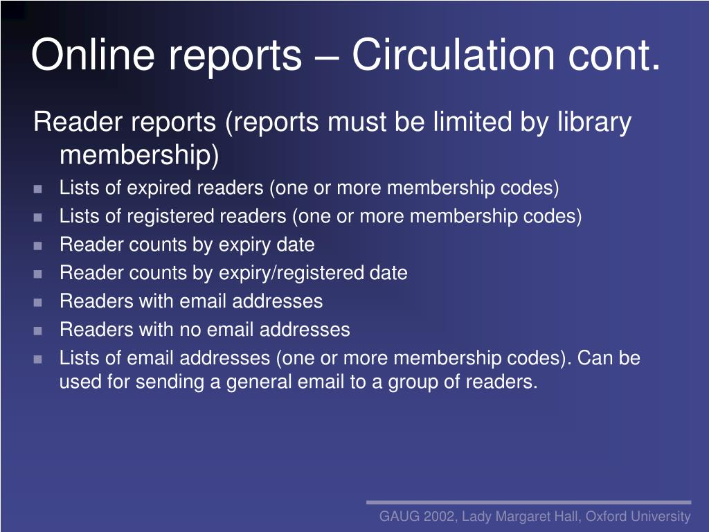Online reports – Circulation cont.