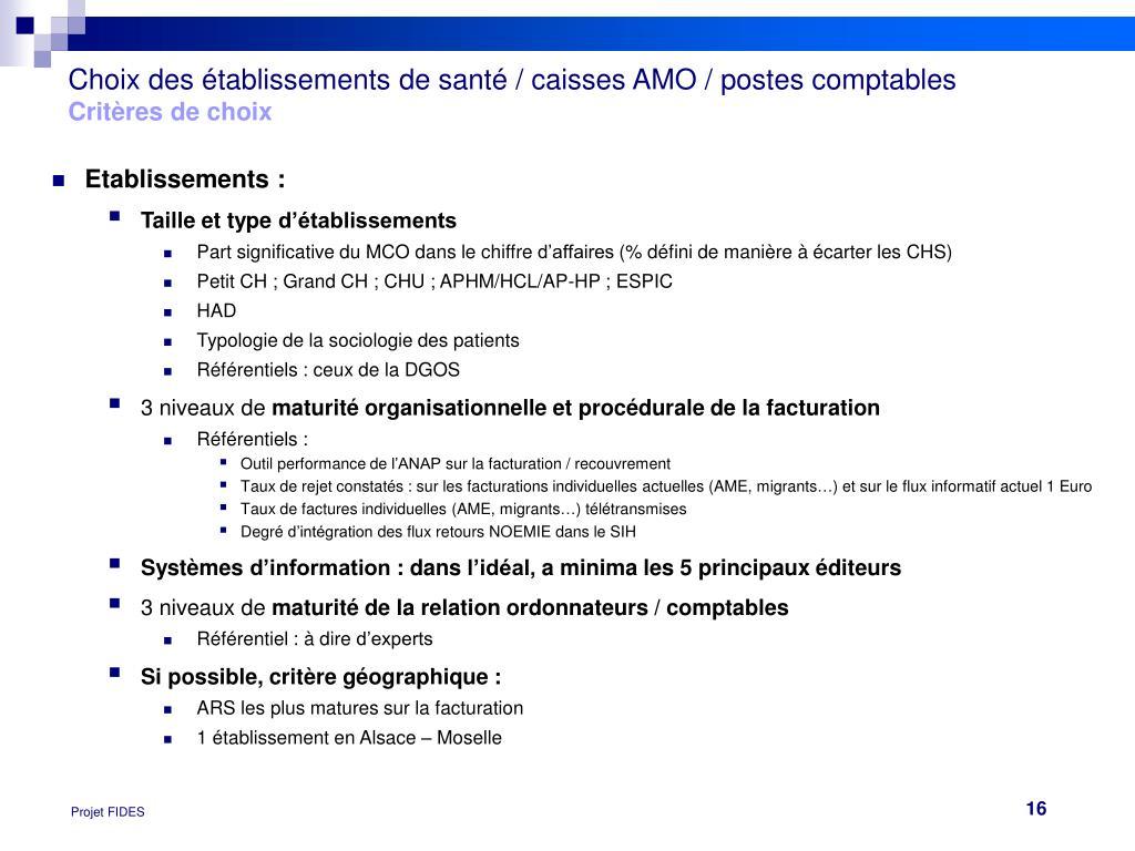 Choix des établissements de santé / caisses AMO / postes comptables