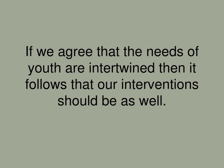 If we agree that the needs of youth are intertwined then it follows that our interventions should be as well.