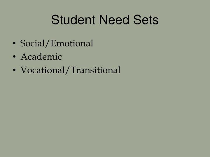 Student Need Sets