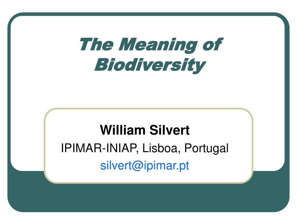 the meaning of biodiversity l.