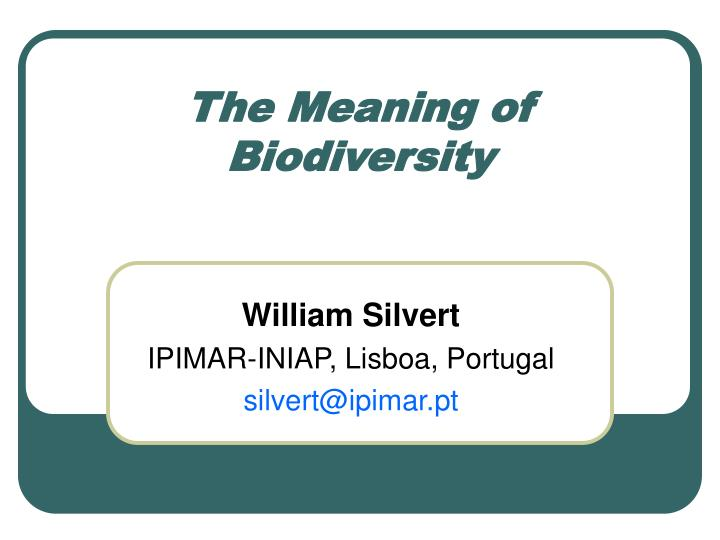 The meaning of biodiversity