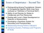 issues of importance second tier