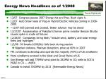 energy news headlines as of 1 2008