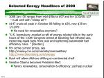 selected energy headlines of 2008