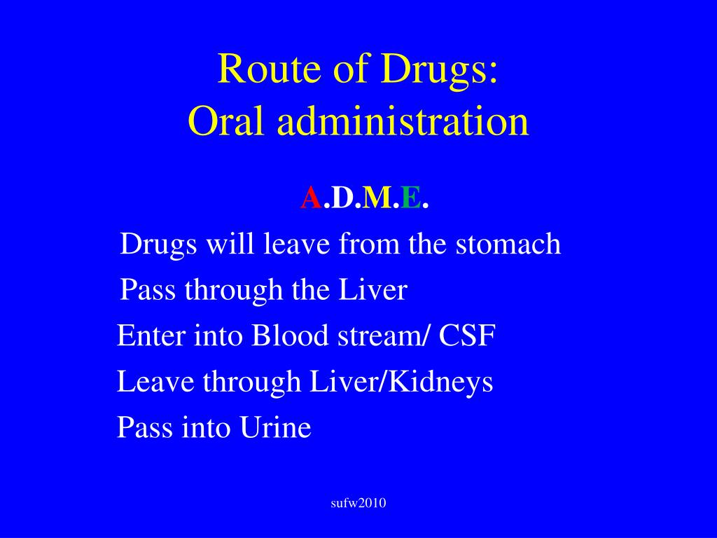 Route of Drugs: