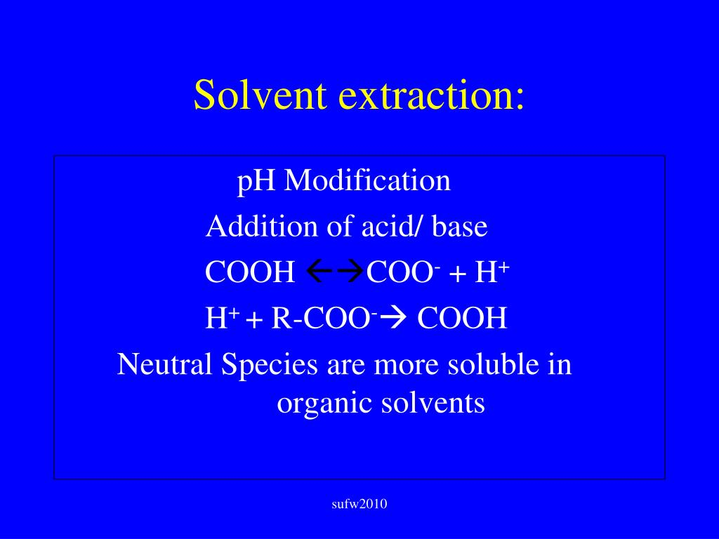 Solvent extraction: