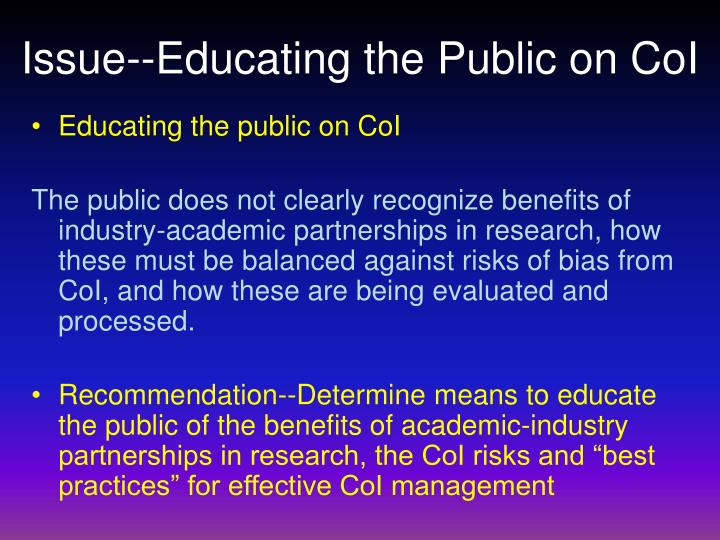 Issue--Educating the Public on CoI