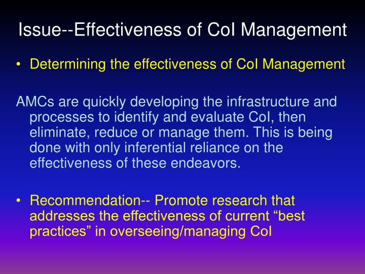 Issue--Effectiveness of CoI Management
