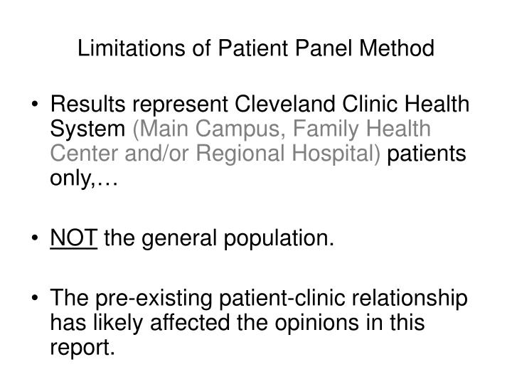 Limitations of Patient Panel Method
