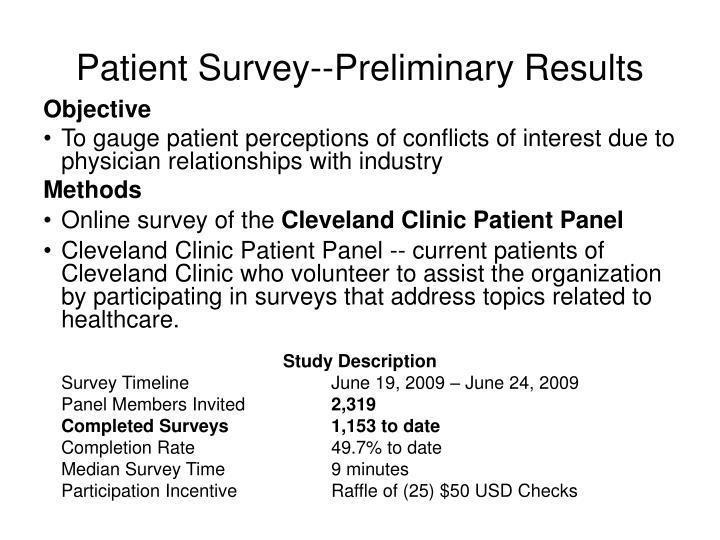 Patient Survey--Preliminary Results