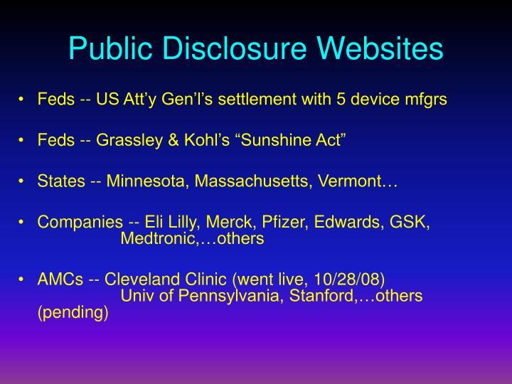 Public Disclosure Websites