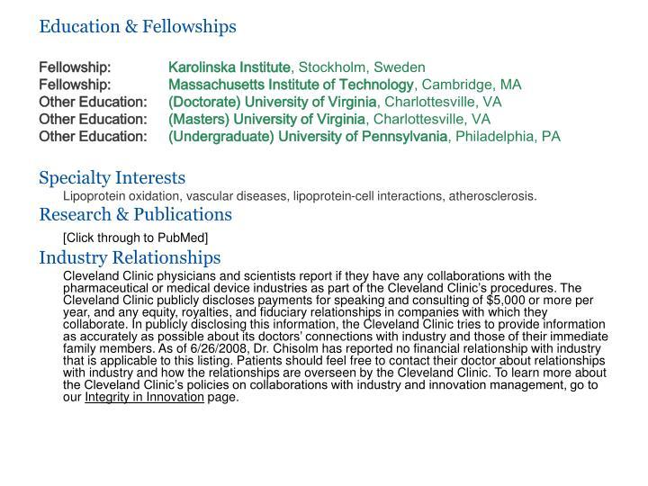 Education & Fellowships