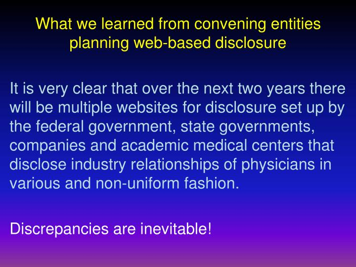 What we learned from convening entities planning web-based disclosure