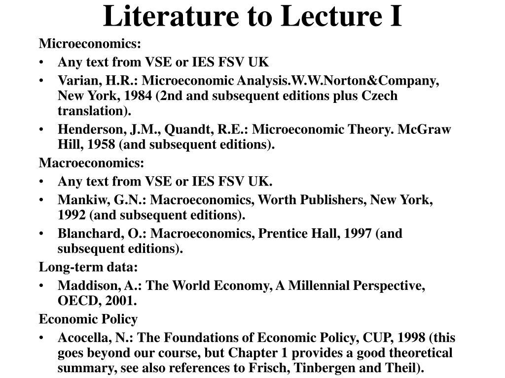 Literature to Lecture I