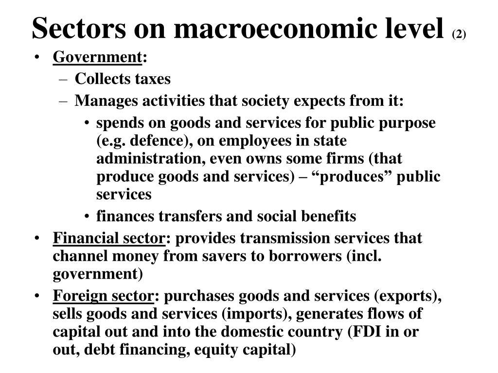 Sectors on macroeconomic level