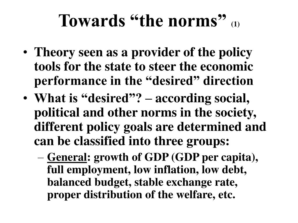 """Towards """"the norms"""""""