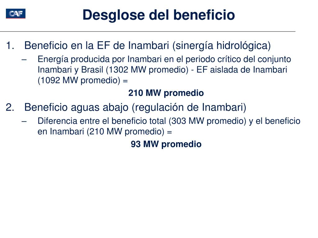 Desglose del beneficio
