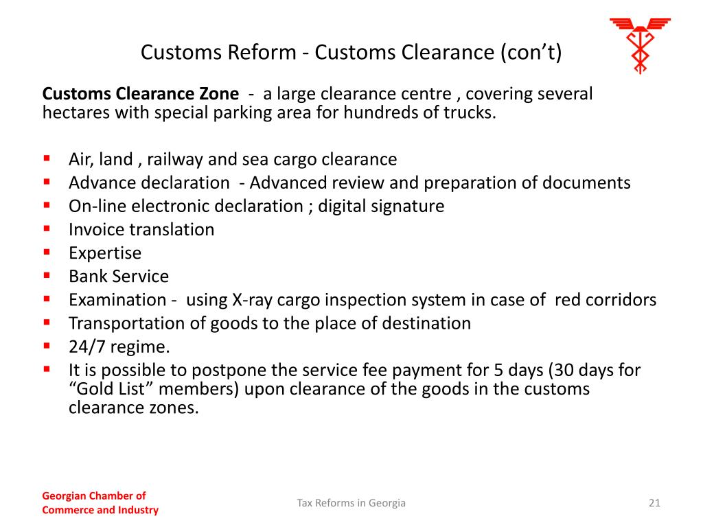 Customs Reform - Customs Clearance (con't)