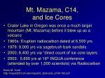 mt mazama c14 and ice cores