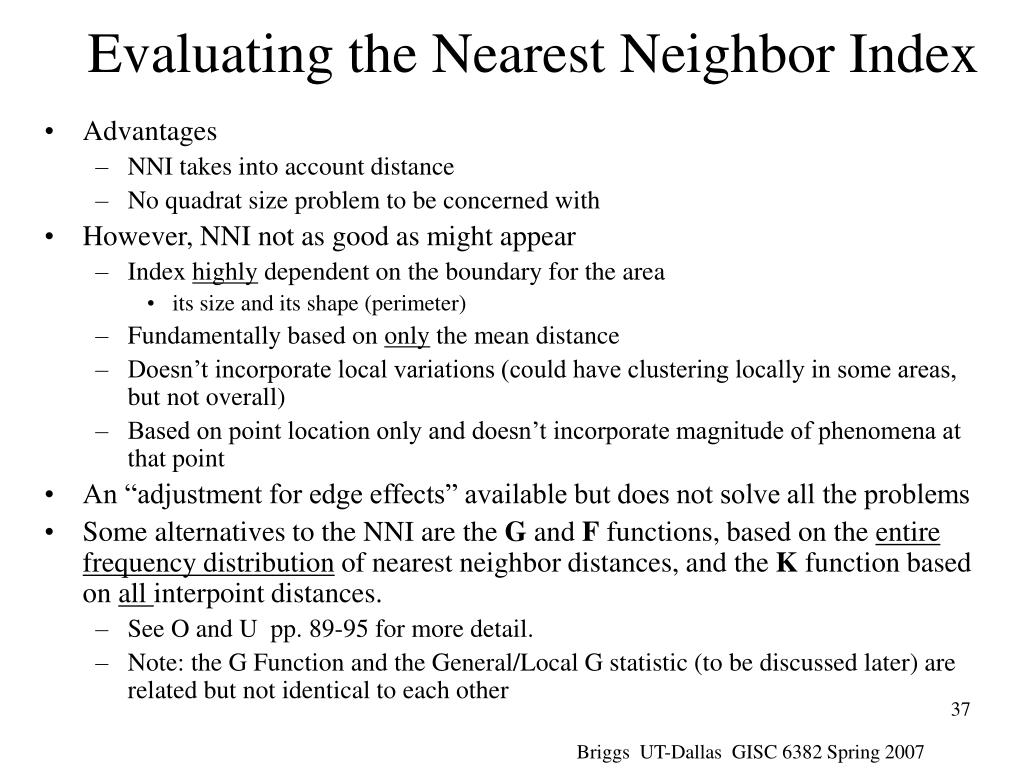 Evaluating the Nearest Neighbor Index