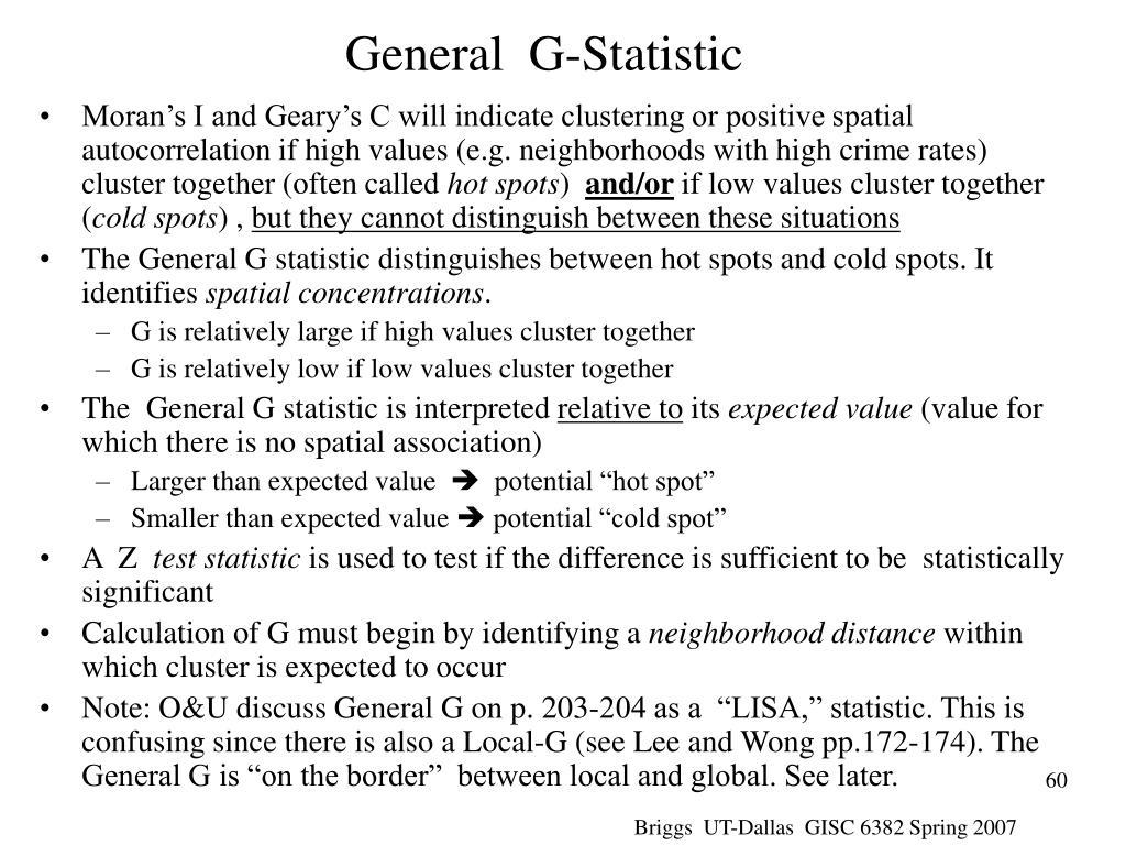 General  G-Statistic
